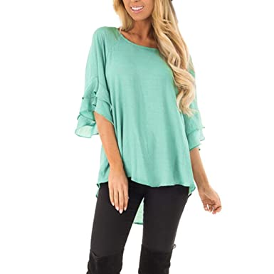 23ceffb2be302 Women Tunic Tops 3/4 Bell Sleeve O-Neck Solid Color Casual Shirt Blouse at  Amazon Women's Clothing store:
