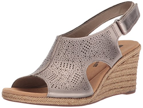 CLARKS Women's Lafley Rosen Platform, Pewter Metallic, 7 Medium US ()