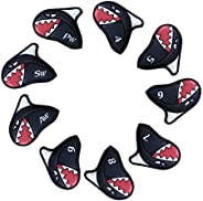 LOXASUM Cute Shark Golf Head Covers Iron Synthetic Leather Set 9 PCS Headcover Embroideried Number Easily get