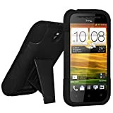 Amzer AMZ95439 Dual Layer Hybrid Case with Kickstand for HTC One SV/cricket HTC One SV - 1 Pack - Retail Packaging - Black