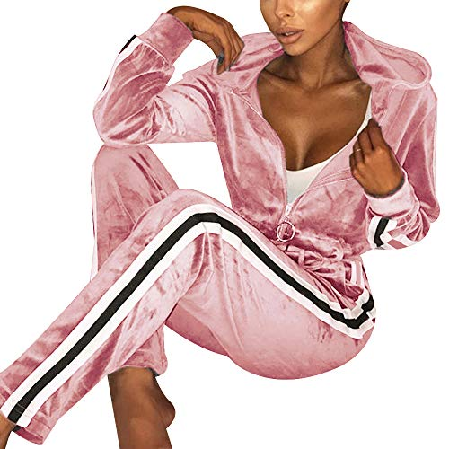TOP-MAX Women's Velour Stripe Jogging Zipped Hoodie, Fashion Sport Suit, Hoodie and Pants Sports Suits Tracksuits ()