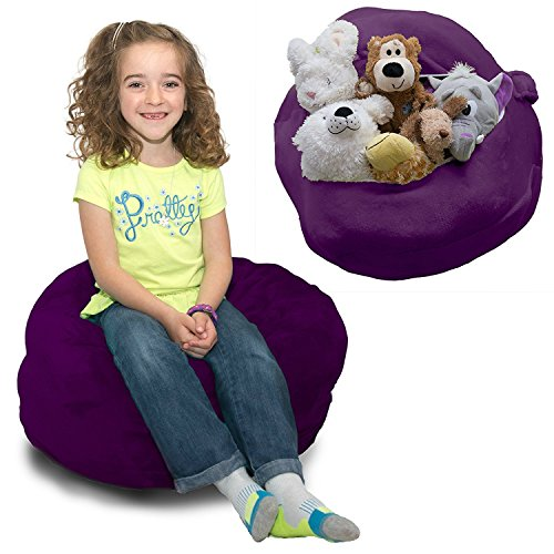 Stuffed Animal Bean Bag Storage - Soft n Snuggly Comfy Plush Fabric Kids Prefer Over Canvas - Replace Your Mesh Toy Hammock or Net - Store Blankets & Pillows Too