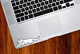 "Sleeping Smiling Cat - White Cat Dreaming - Vinyl Trackpad Tablet iPad Decal Sticker - Copyright 2016 YYDC (Size Choices) (White Cat, SMALL 3.75""w x 1.75""h)"