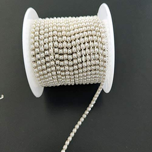 Amazon.com: Xuccus 10yards/Roll Pearl Chain Crystal Glass 2mm -3mm Gold/Silver Base Cup Close Rhinestone Chain Apparel Sewing Style DIY Clothes - (Color: Silver Base, Size: 2.5mm, Number of Pcs: 5yards)