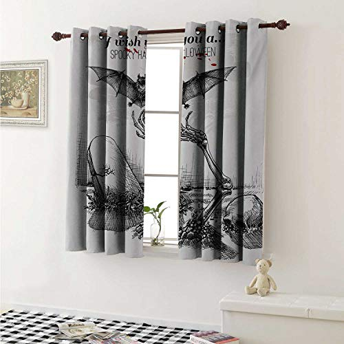 Halloween Window Curtain Fabric Dead Skull Skeleton Out of The Grave and Flying Bat Hand Drawn Spooky Picture Curtains and Drapes for Living Room W55 x L63 Inch Black White]()