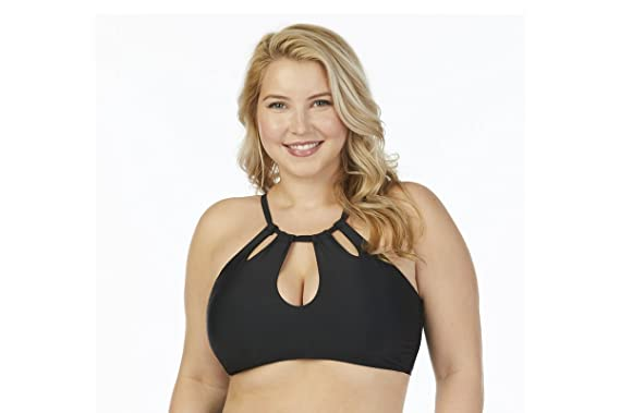 e24da87a25 Raisins Curve Juniors Plus Size Flamingo Solids Rosalie High Neck Bra Swim  Top - Black -