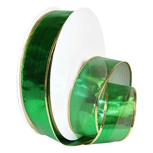 Ribbon Wired Metallic (Morex Ribbon Wired Metallic Gleam, 1-1/2 x 50 yd, Emeraldc)