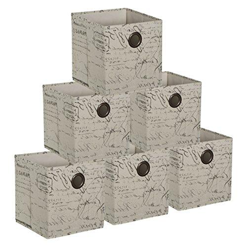 HomeCrate Foldable Burlap Canvas, Cloth Storage Cube Basket Bin, Pack of 6 - (Underbed Unit)