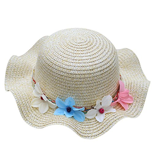 (Kids Summer Straw Hat Flower Beach Sun Protection Hats for Baby Girls )