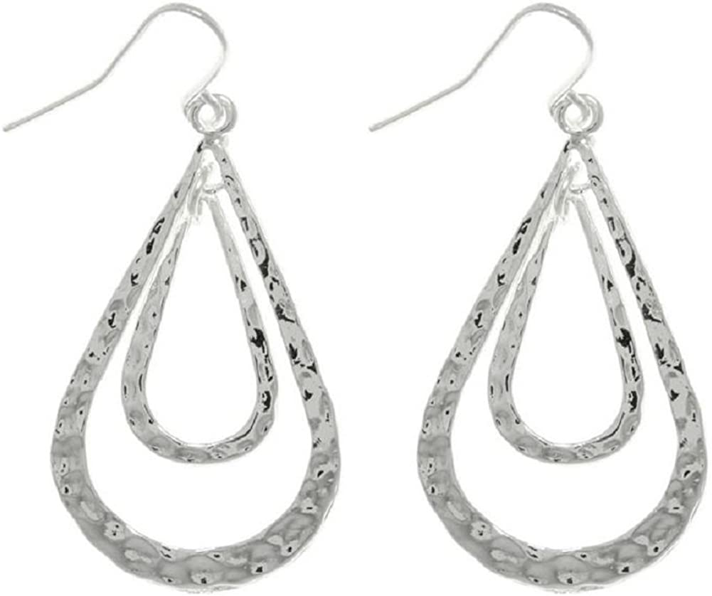 Jewelry Trends Silvertone Pewter Double Teardrop Long Textured Dangle Earrings