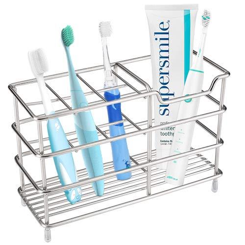 I&HE Premium Bathroom Toothbrush Holder - 7 Slots Stainless Steel Bathroom Toothbrush Organizer - Multi-Function StandStorage Rack for Electric Toothbrush, Toothbrush, Toothpaste, Cleanser, Razor