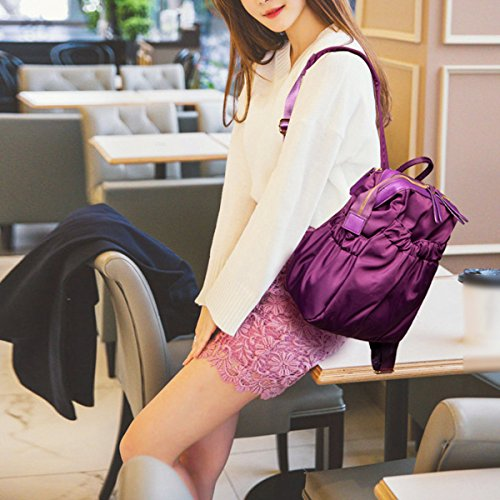 Mujer Nylon Mochila Moda Simple Todo Fósforo Impermeable Viaje Nuevo De Gran Capacidad Utilidad Bolso Blue