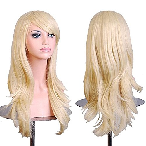 Netgo Blonde Cosplay Wigs for Women Long Wavy Halloween Costume Heat Resistant Party Wigs (Super Cheap Costume Wigs)