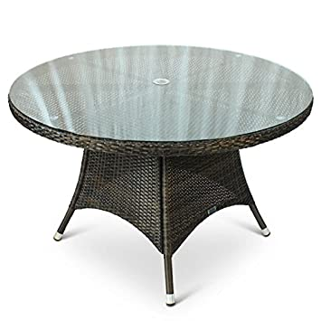 Round Rattan Outdoor Table with Glass Top - 1.2 Metre Diameter 120cm ...