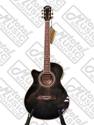 Left Hand Oscar Schmidt Acoustic Electric Concert/ Folk Size Guitar, Trans Black, Lefty