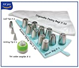 Cake decorating kit | Russian Piping Tips set includes 25 pcs - Leaf nozzles, Writing tip, Disposable Pastry Bags for Icing, Tri-Color Coupler & Reusable Silicone Bag + Gift Box
