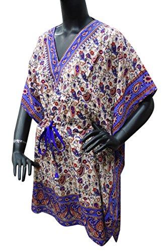 PEEGLI Indische Kaftan Frauen Nacht Kleid V Ausschnitt Paisley Gedruckt Polyester Kaftan Aus Weiß-5 mIGMe