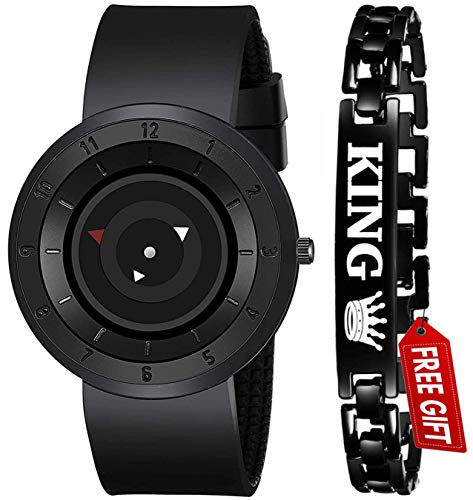 Acnos Brand – A Full Black Stailess Steel Case with Uniq Time Presentation Analog Watch with FRE King Bracelet for Mens/Watch for Boys Pack of 2