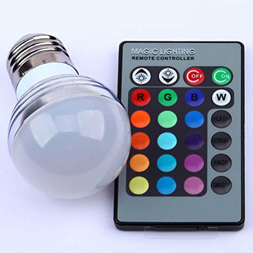 E27 3W RGB LED 16 Multi Color Magic Lamp Light Bulb + Wireless Remote (Multi Color Led Flashlight)