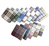 Cinyifan Men/Women's Elegant Soft Cotton Handkerchief Vintage Gift Hanky Style03(40*40cm) 12pcs