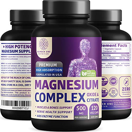 N1N Premium [3X Absorption, Vegan] Magnesium Complex, Powerful Supplement for Sleep, Leg Cramps, Muscle Recovery  Relaxation, Formulated for Women  Men - Pure, Non-GMO, 120 Veggie Capsules in USA