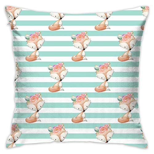 (Miliface Baby Girl Fox (Mint Stripe) Smaller - Woodland Animal Baby Nursery Crib Sheets Blanket Bedding GingerLous Decorative Square Throw Pillow Covers 17.7 x 17.7 Inch 45 x 45 cm)