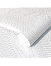 White Wood Paper Vinyl Wallpaper Peel and Stick for Countertops Close Removable Wall Sticker 45cm x 5m