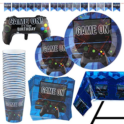83 Piece Video Gaming Party Supplies Set Including Banner, Plates, Cups, Napkins, Tablecloth, X-Large Joy Stick Controller Balloon - Serves 20 ()