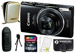 Canon Powershot Elph 350 Hs 20.2mp 12x Zoom Digital Camera (Black) With Full Hd 1080p Video + Case + Tripod + 16gb Accessories Bundle