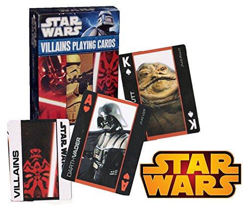 Star Wars Saga Villains Edition Playing Cards ~ Darth Vader, Darth Maul, Zam Wesell, Jabba the Hutt and (Star Wars Magnaguard Fighter)