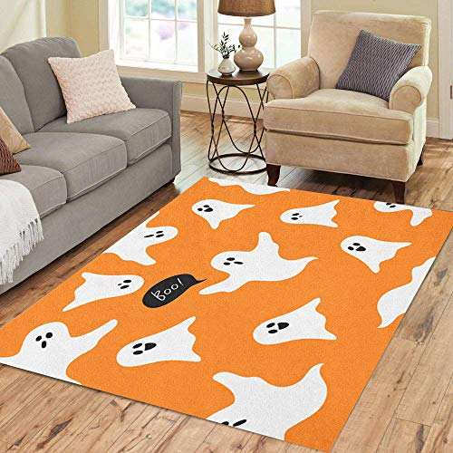Semtomn Area Rug 2' X 3' Autumn Halloween Ghosts Boo Cute Cartoon on Orange Celebration Home Decor Collection Floor Rugs Carpet for Living Room Bedroom Dining Room]()