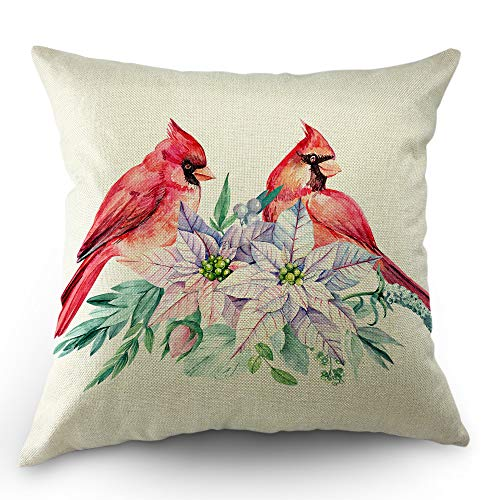 Moslion Bird Pillow Cover Christmas Poinsettia Red Cardinal Bird Leaves Flowers Decorative Throw Pillow Case 18x18 inch Cotton Linen Square Cushion Cover Sofa Bedroom