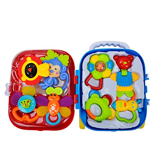 Baby Teether Rattle Suitcase Toys - Happytime 2018 8 pcs Latest Rattle & Teether Toys in Mini Suitcase Set Gift for Newborn Baby