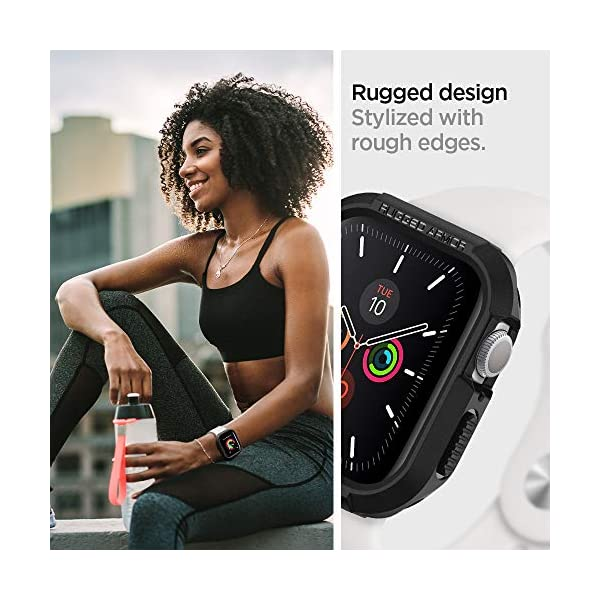 Spigen Rugged Armor Back Cover Case Designed for Apple Watch 44mm Series 5 and Series 4 - Black