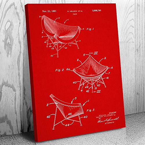 Patent Earth Herman Miller Chair Canvas Print, Designer Gift, Interior Decorator, 60s Notalgia, Lounge Chairs, Retro Furniture Red Fabric (12
