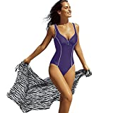 Delimira Women's Plus Size Built-in Cup One Piece Deep-V Swimsuit Bathing Suits Purple US 12