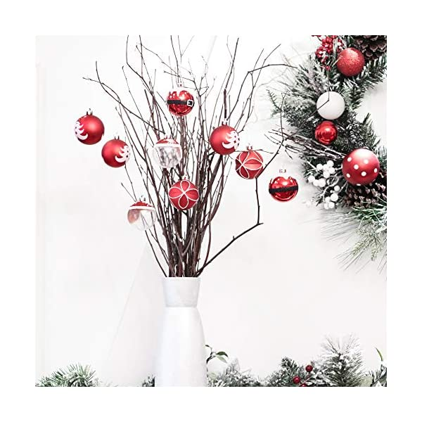 Valery Madelyn Palle di Natale 9 Pezzi 6cm Addobbi Natalizi, Traditional Red And White Shatterproof Christmas Ball Ornaments Decoration for Christmas Tree Decor 6 spesavip