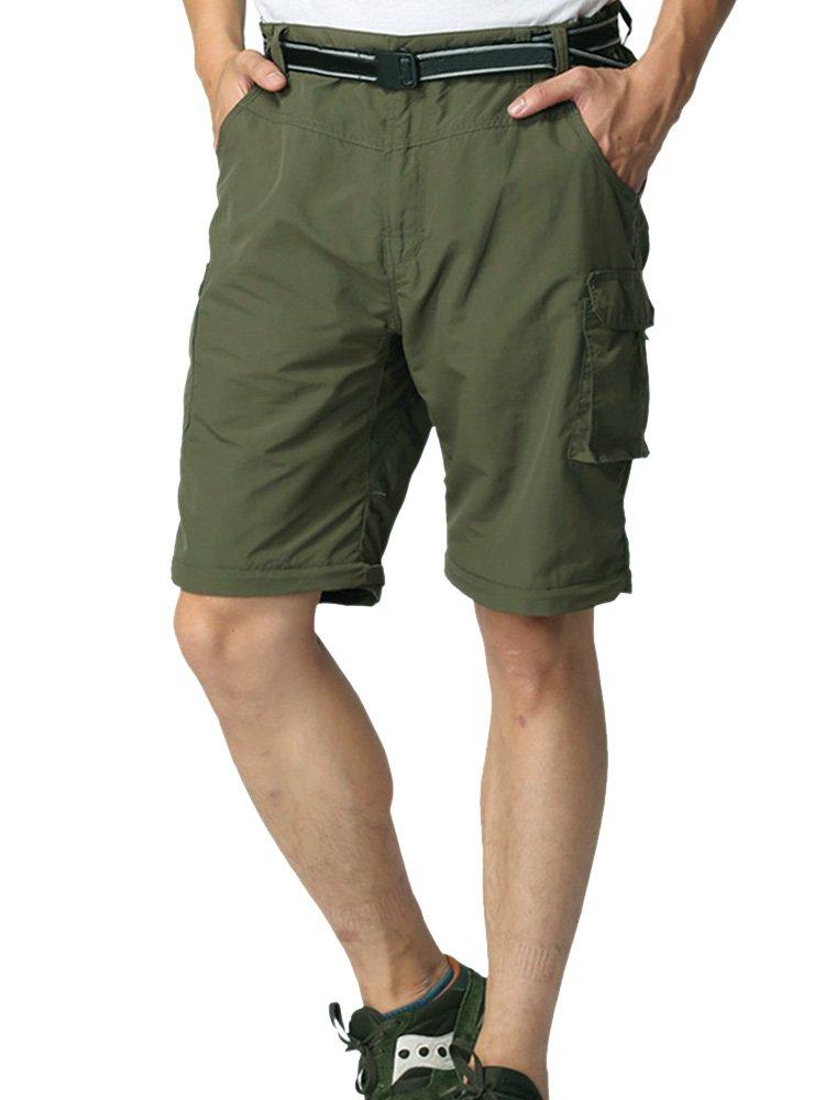 Jessie Kidden Men's Outdoor Expandable Waist Lightweight Water-Resistant Quick Dry Cargo Shorts #6053-Army Green, 38