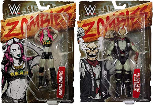 Rough Star - 5nights Dead Zombified Rough Wrestling Superstar WWE Figures Series Stone Cold Steve Austin Action & Sasha Banks Zombie 2-Pack Hellraiser Bundle