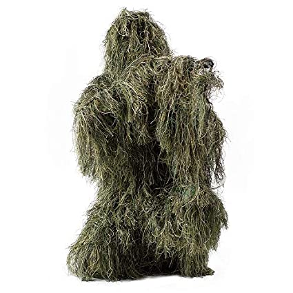 HaoFst Medium Size Ghillie Suit Camo Woodland Camouflage Forest Hunting 4-Piece + Bag ML
