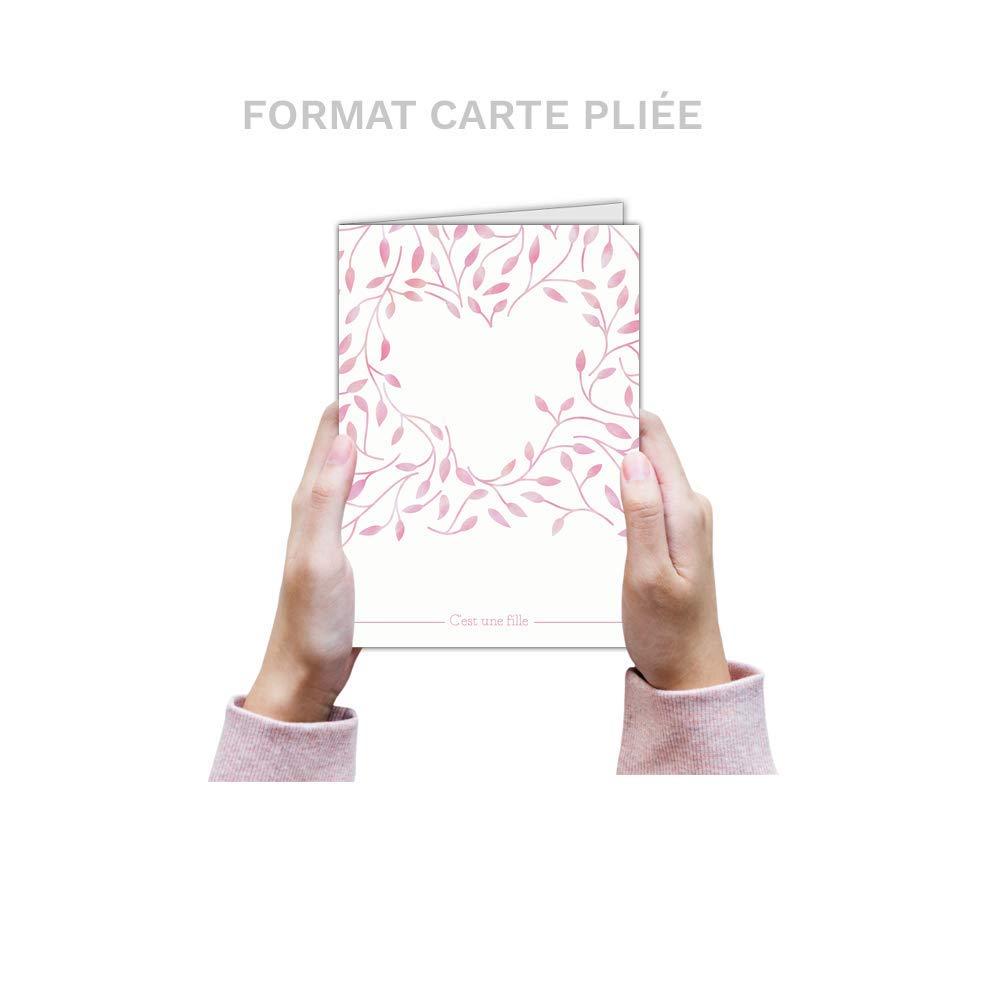 Tarjeta invitaciones Tarjeta de nacimiento niña – 32 ejemplares – Tarjeta invitaciones dibujos (C 'Est una niña corazón rosa  disponible en 4 tamaños Carte pliée - 14 cm x 19,5 cm 7d688f
