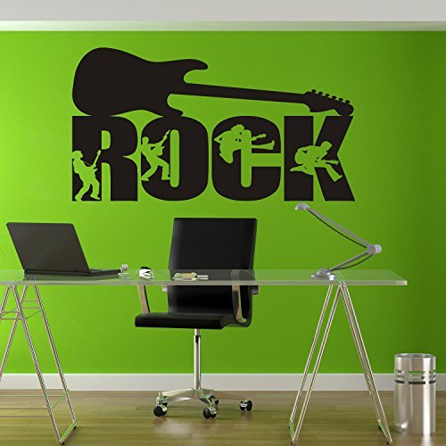 Rock'n'roll Decal Rock'n'roll Sticker R'n'r Guitar Decal Band Rock Music Let's Rock Heavy Metal Band Wall Art Stickers Tr273 ()