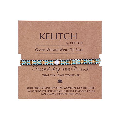 KELITCH Pearl Sead Beaded Wax rope Charm Wrap Bracelets Handmade Friendship New Women Jewelry (Green)