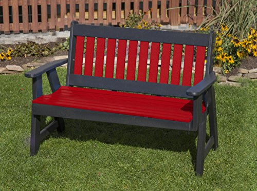 - 4FT-BRIGHT RED-POLY LUMBER Mission Porch BENCH Heavy Duty EVERLASTING PolyTuf HDPE - MADE IN USA - AMISH CRAFTED