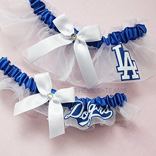 Customizable - LA Los Angeles Dodgers fabric handmade into bridal prom white organza wedding garter set tnt by BOYX Designs