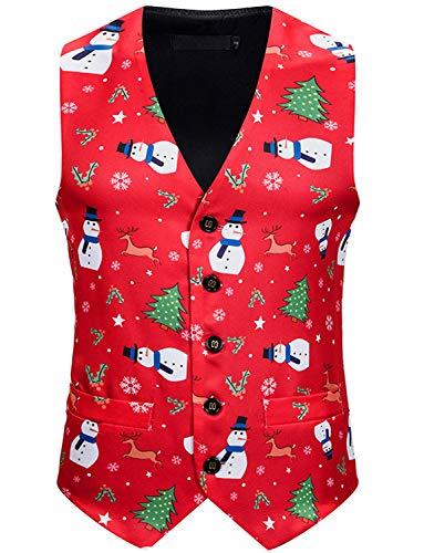 Everbeauty Christmas Vests for Men V-Neck Party Dress Suit Vest Stylish Waistcoat EMJ011