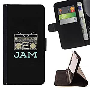 - Queen Pattern FOR Samsung Galaxy A3 /La identificaci????n del cr????dito ranuras para tarjetas tir????n de la caja Cartera de cuero cubie - jam boom box music dj black rap speak