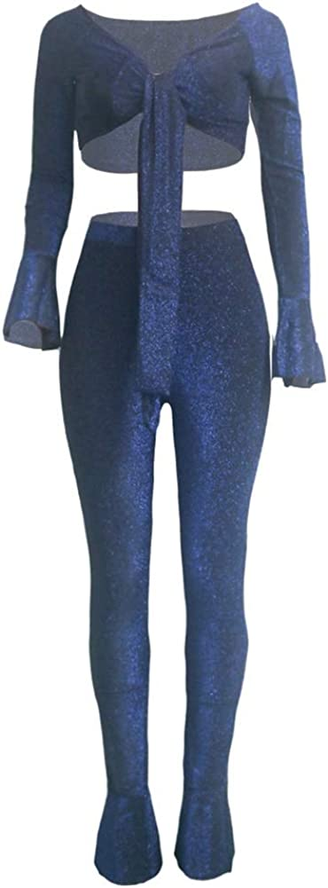 Womens Glitter 2 Piece Outfit Flare Long Sleeve Crop Top Bell Bottom Club Party Pants Set