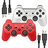 ElementDigital PS3 Controller Wireless PlayStation 3 Bluetooth Remote with Charger Cable 2 Pack (Silver+Red)