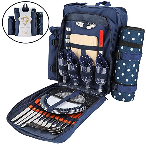 Picnic Backpack For 4 | Family Picnic Lunch Set with Insulated Cooler | Picnic Basket Backpacks with Blanket | Comes with Cooler, Cutting Board, Wine Glasses, and a Knife | For Hiking and Camping